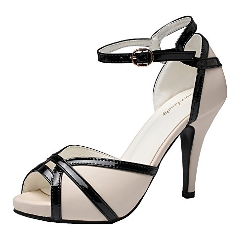getmorebeauty Women's Ivory and Black Peep Toes Buckle Dress Heeled Sandals 8 B(M) US