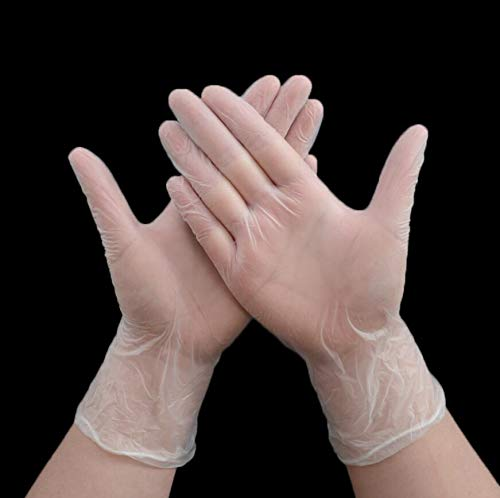 DeroTeno Disposable Gloves, 100 Count Food Grade Disposable Vinyl Gloves for Kitchen, Food Service, Beauty, Cleaning (Medium, Transparent)