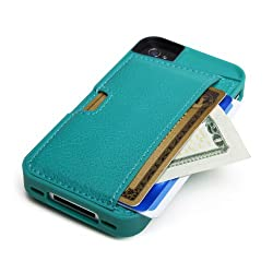 CM4 Q4-GREEN Q Card Case Wallet for Apple iPhone 4/4S - 1 Pack - Retail Packaging - Pacific Green