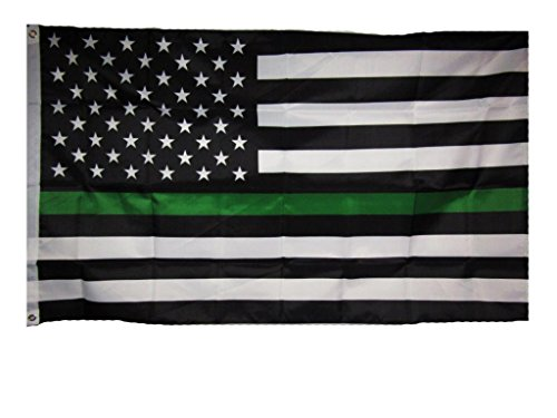 AES 3x5 USA Memorial Border Patrol Game Warden Park Ranger Green Line Flag 3'x5' House Banner Grommets Double Stitched Metal Eyelets for Hoisting Fade Resistant Premium Quality