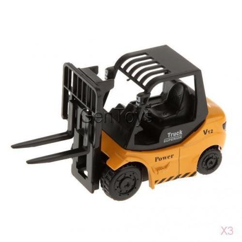 Shalleen 3pcs 1:64 Scale Yellow & Black Alloy Forklift Truck Diecast Car Boys Collections