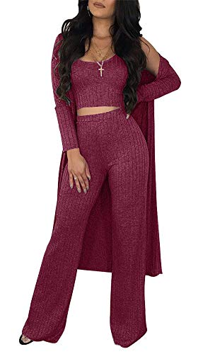 VLUNT Women Sexy 3 Piece Outfits Solid Tank Crop Top Long Kimono Cardigan Cover up and Bodycon Pants Set Wine