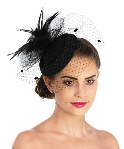 Lucky Leaf Women Girl Fascinators with Hair Clip Hairpin Hat Bowknot Feather Flower Veil Cocktail Wedding Tea Party Hat (6-Black)