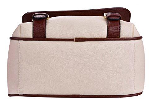 Ladies Blue Bag Bag Travel Vintage Bag 344 Leather Women Backpack white Tinksky Creamy Shoulder School nqawYT7A