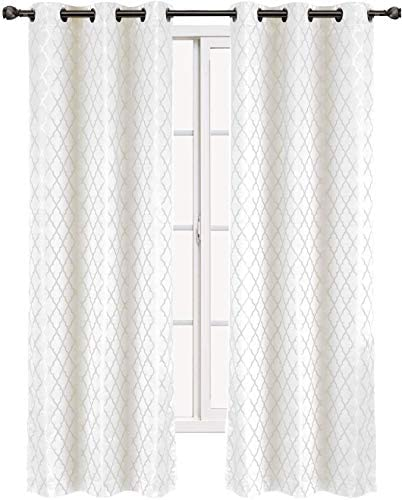 Willow Jacquard White Grommet Blackout Window Curtain Panel