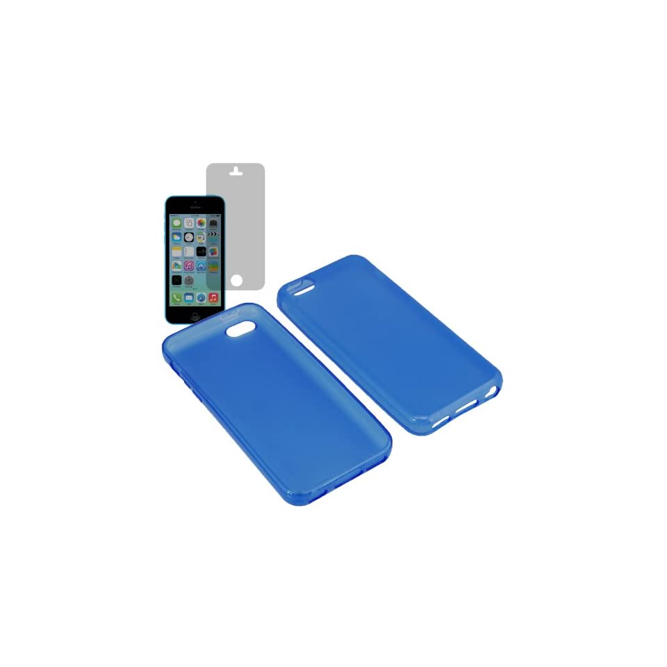 Aimo Wireless TPU Sleeve Gel Cover Skin Case for AT&T, Sprint, T Mobile, Verizon Apple iPhone 5C + Fitted Screen Protector Blue