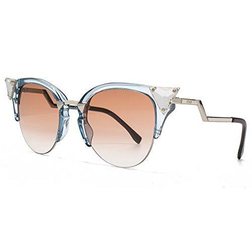 Fendi Crystal Cateye Sunglasses in Blue Palladium FF0041S 9EQ 52
