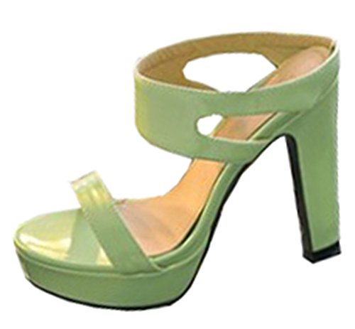 Easemax Womens Unique High Chunky Heels Open Toe Platform Mules Sandals Green thPj70voQ7