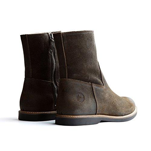 Travelin Marseille Wolle Gefütterte Stiefeletten Flach Damen | Ankle Boots Knöchelhohe Stiefel | Winterstiefel | Freizeitschuhe | Wildleder Grun 37 EU