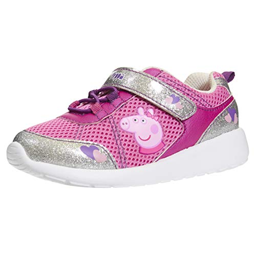 Peppa Pig Low Ankle Jogger Shoes for Girls Tennis Shoes Elastic, Hook and Loop Athletic Pink (Shoes Toddler Pig Peppa)