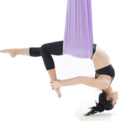 Alger Anti-gravité de hamac d'yoga aérien, ceinture de laçage de corde de yoga, auxiliaire inversé, ceinture d'étirement avec la micro élasticité de yoga , purple