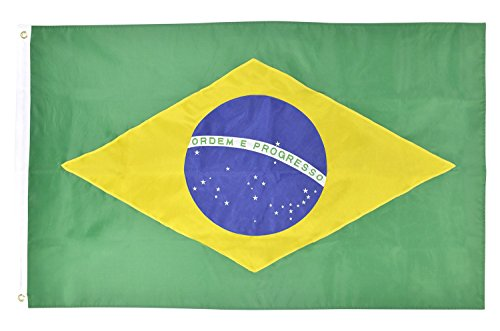 Shop72 - Brazil Flag Embroidered Sewn Stripes Sturdy 201D Oxford Nylon Country Flags - World Flag - Canvas Header Brass Grommets Double Stitched From Wind Side