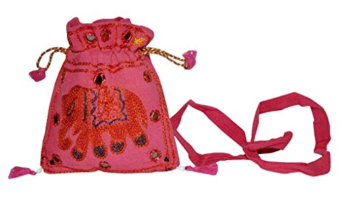 Indian Women's Cross Body Shoulder Bag Handmade Mini Pouch Bag 13 x 15 Cm