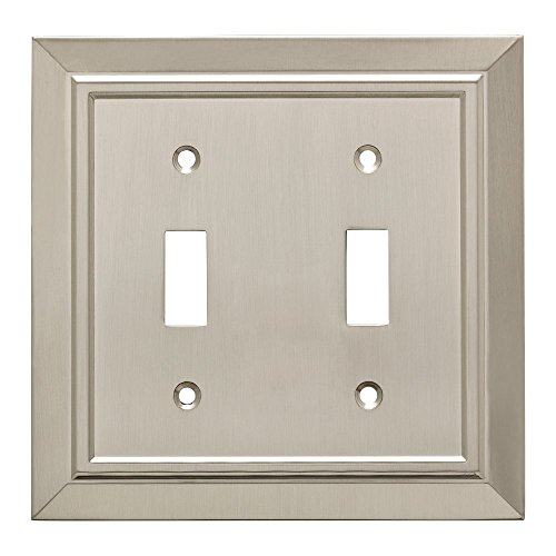 Franklin Brass W35220-SN-C Classic Architecture Double Toggle Switch Wall Plate/Switch Plate/Cover, Satin Nickel (Toggle Double Brass Switch)