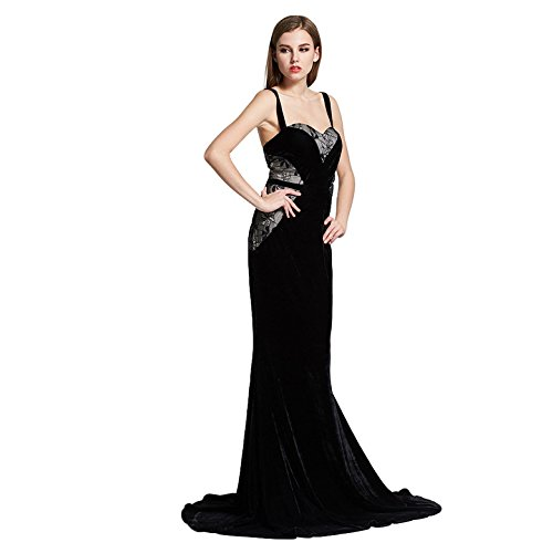 KOOLEE Evening Dresses Women - Sexy Ladies Blue Formal Lace Velvet Long Mermaid Evening Prom Dress (M): Amazon.co.uk: Clothing