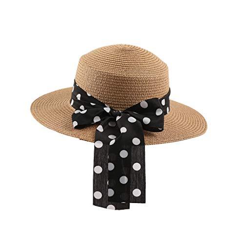 Bass Embroidered Visor - Womens UV Sun Hats Straw Visor Hat Ladies Summer Panama Hawaii Beach Travel Hat Wide Brim Breathable Foldable Outdoor Hiking Cap (Khaki)