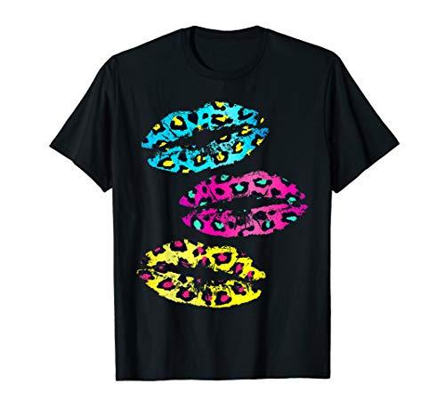 - Retro 80's T-Shirt: Lipstick Kiss, Leopard 1980's Costume