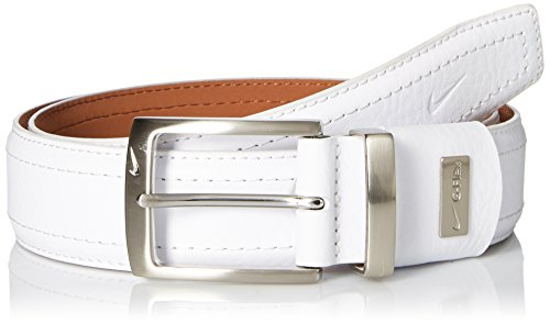 Nike Men's G-Flex Pebble Grain Leather Belt, White ()