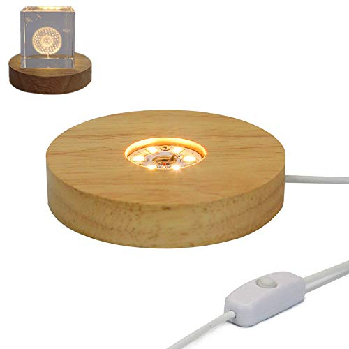 (4 inch Wide Wooden LED Display Base Light Warm White for Crystals or Table Centerpiece,LED Wooden Light Stand for Glass Art or Vase (Warm White))