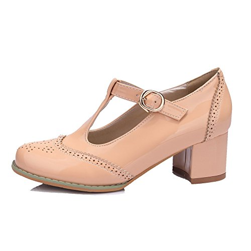 AgooLar Damen Lackleder Schnalle Rund Zehe Mittler Absatz Rein Pumps Schuhe  Aprikosen Farbe ...