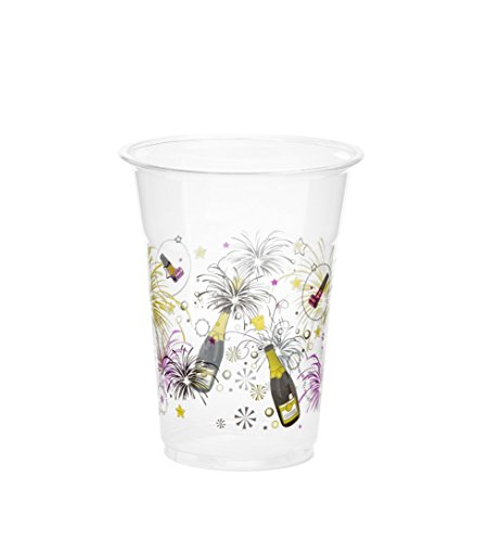 Party Essentials 20 Count Happy New Year Soft Plastic Printed Party Cups, 16 oz, Clear
