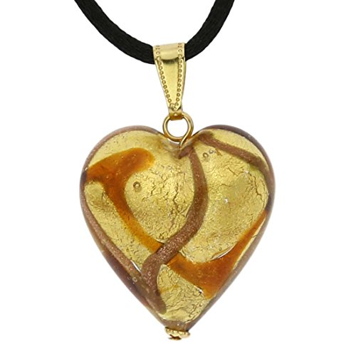 GlassOfVenice Murano Glass Heart Pendant - Topaz Waves - Murano Glass Pendant Gold