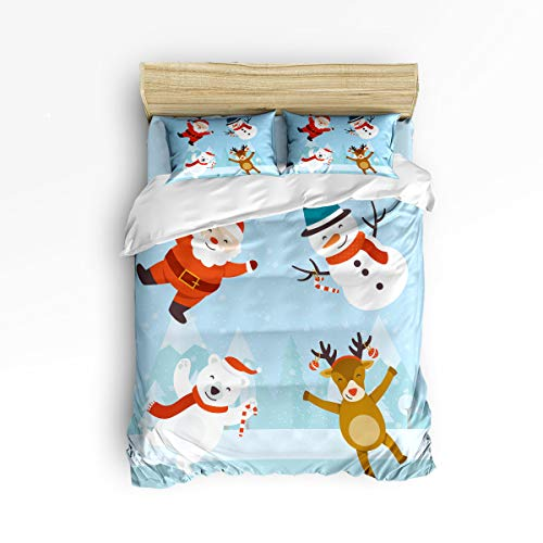4 Piece Bedding Set,Happy Santa Claus Snowman Beer Reindeer Cartoon Decor Duvet Cover Set Quilt Bedspread for Childrens/Kids/Teens/Adults Queen Size(Large)