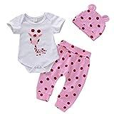 Unisex Baby Summer Set,Jchen Infant Boy Girl Cartoon Giraffe Print Short Sleeve Romper +Pants+Hats Outfits for 3-24 Months (Age:3-6 Months, Pink)