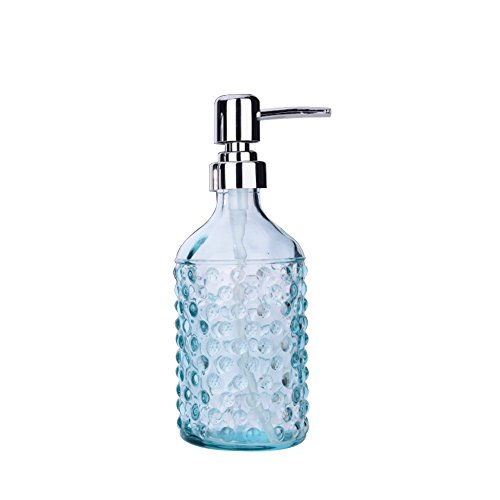 Glass Soap and Lotion Dispenser for Kitchen or Bathroom Countertops, 10.2 oz, (Blue Soap Dispenser)