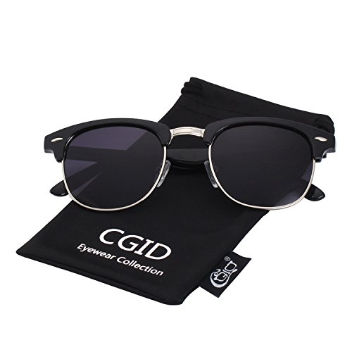 CGID Clubmaster Premium Classic Inspired Half Frame Horn Semi-Rimless Rimmed Sunglasses with Metal - Flash Oversized Clubmaster Lenses