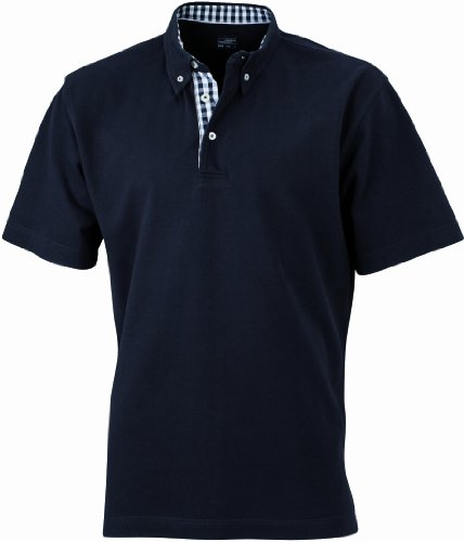 James & Nicholson Herren Poloshirt Poloshirt Men's Plain schwarz (black/black-white) X-Large