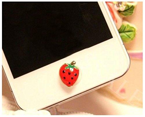 Diamond Strawberry Charm - Diamond Rhinestone Home button Sticker For Apple iPhone 4 4S 5 iPod iPad 1 2 3 4 (STRAWBERRY)
