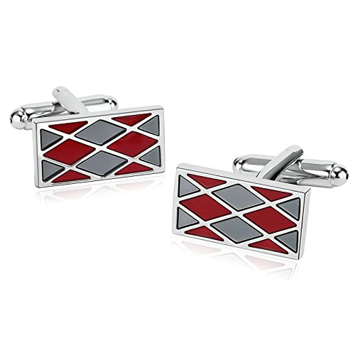r Men Suitable for Wedding Anniversary Stainless Steel Rhombus Rectangle Cuff Links Gray Red ()