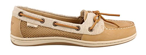 Leather Sperry Top Sider Tie (Sperry Top-Sider Women's Barrelfish Boat Shoe, Linen - 9.5 B(M) US)