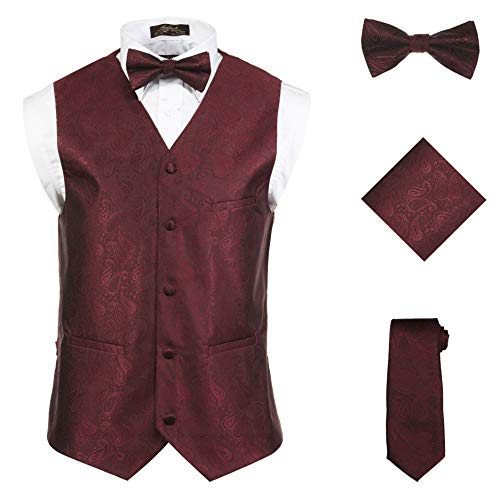 (Vittorino Men 's 4 Piece Formal Paisley Vest Set With Tuxedo Vest Tie Hankerchief Bow)
