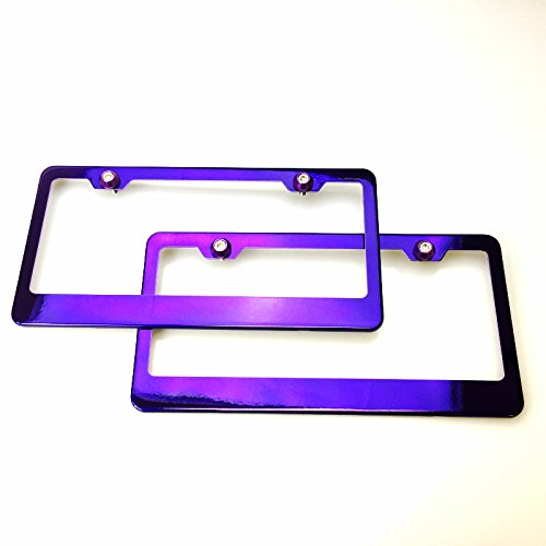 Pair Candy Purple Chrome Powder Coated Stainless Steel License Plate Frame With Aluminum Circle Style Screw Cap ()