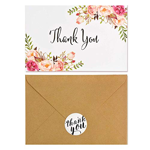 Thank You Note For Baby Shower (Boho Chic Floral Modern Thank You Note Card,40 Pack Thank you Card Bulk,Blank Note Card with Kraft Paper Envelopes and Stickers-Perfect For Wedding, Baby shower, Business,Bridal)