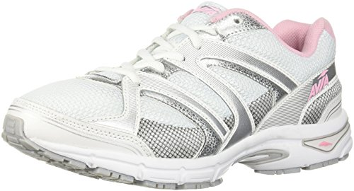 Avia Women's Avi-Execute-II Running Shoe, White/Chrome Silver/Tickle Pink, 8 M US