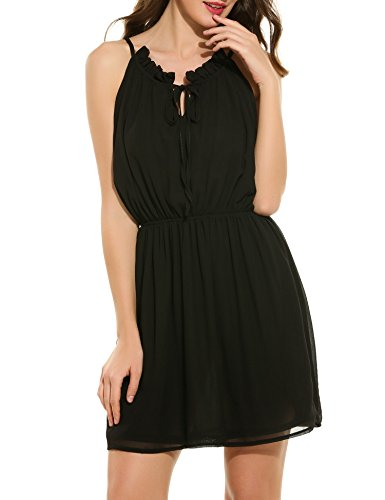 ACEVOG Women's Casual Sleeveless Halter Neck Short Dress Sundress (Black (Halter Sundress Dress)
