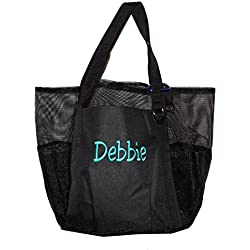 Super Big Large Mesh Family Beach Bag Tote - 24 in x 16 in x 10 in (Black - Personalized)
