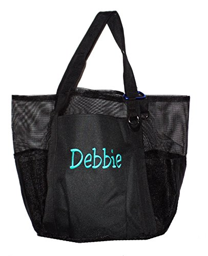 - Super Big Large Mesh Family Beach Bag Tote - 24 in x 16 in x 10 in (Black - Personalized)
