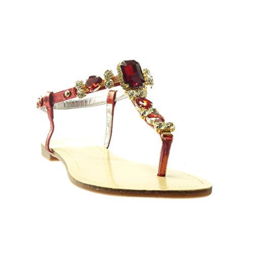 Angkorly - Scarpe da Moda sandali infradito cinturino donna gioielli strass fantasia Tacco tacco piatto 1.5 CM - Rosso