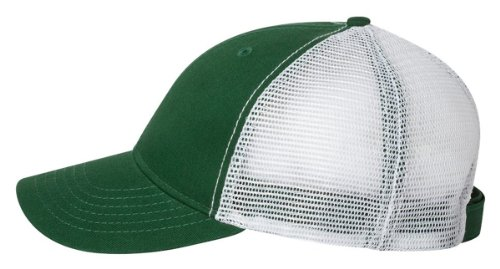 Authentic Headwear - ''The Duke'' Washed Trucker Cap - AH80 - Adjustable - Dark Green/ White (Dark Green Baseball Hat)