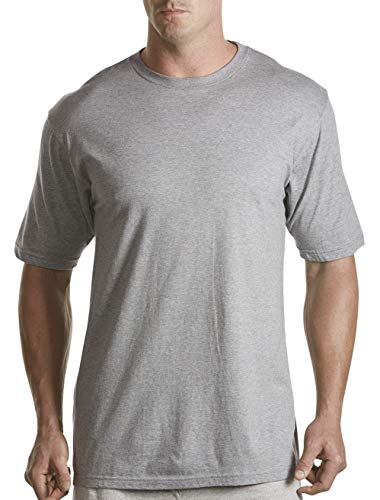 Harbor Bay by DXL Big and Tall Color Crewneck T-Shirts, Grey 5XL, Pack of 3