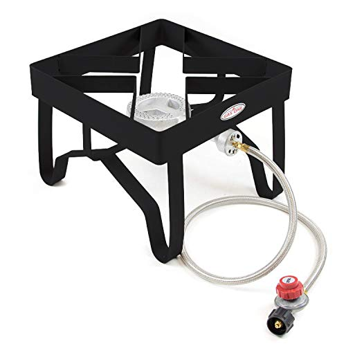 GAS ONE High-Pressure Single Burner Outdoor Stove Propane Gas Cooker with Adjustable 0-20PSI CSA Listed Regulator and Hose Perfect for Beer Brewing, outdoor cooking, Maple Syrup Prep ()