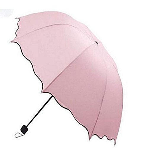 WMC-GHY Folding Umbrella Magical Bloom Flower in Rain Water Fashion Exquisite Windproof Sunshade Outdoor Sports Camping Walk Travel Parasol UV Protection (Pink)
