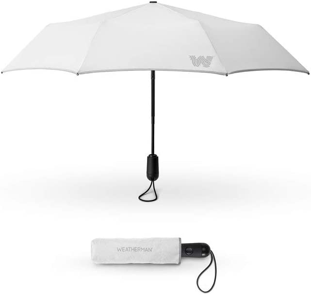 The Weatherman Travel Umbrella - Windproof Compact Umbrella - Extremely Durable Umbrella Built to Withstand High Winds - Available in 2 Colors (White)