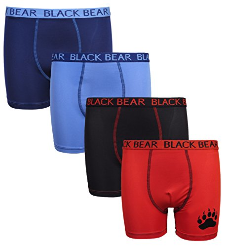 'Black Bear Boys\' Stretchy Performance Dri-Fit Boxer Brief Short, Light Blue, Navy, Black, Red, Small / 4-6'