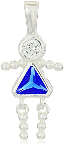 - Sterling Silver AAA Cubic Zirconia Simulated Birthstone Babies Girl Charm, September