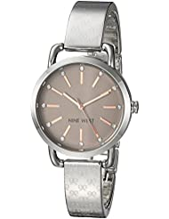 Nine West Womens NW/2103TPSV Crystal Accented Silver-Tone Bangle Watch